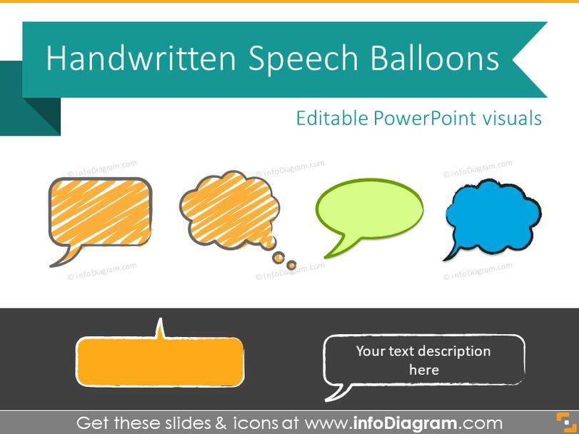 Speech Balloons Handwritten Bubbles Sketches (PPT clipart shapes)