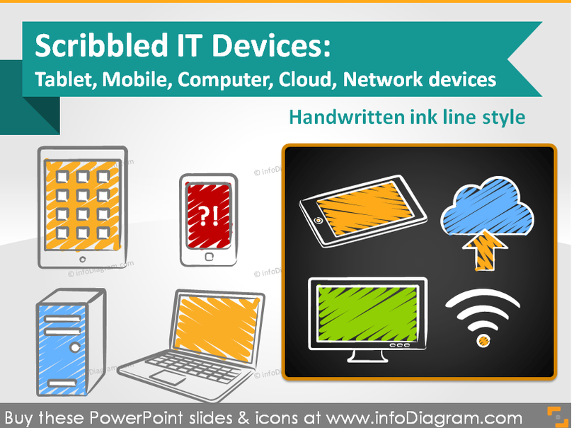 IT Devices Scribbled Tablet Mobile Computer Cloud (PPT icons)