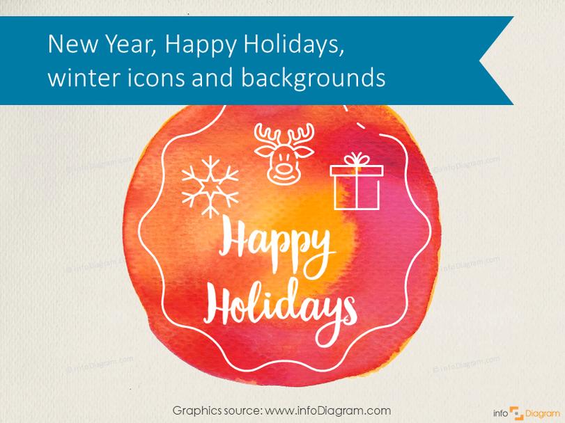 Creative Happy Holiday Watercolor, Santa, New Year 2020, Christmas (PPT icons)