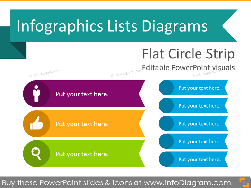 Infographics Circle Strip Lists Template (flat PPT Diagrams)