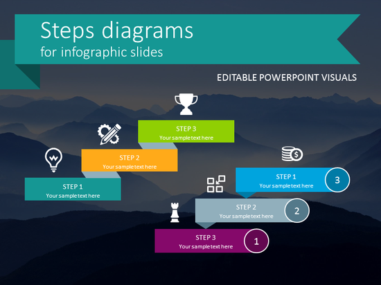 Steps Diagram Infographics (flat PPT template)