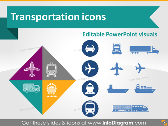 Transport Road Rail Air Water Logistics Symbols (PPT clipart)