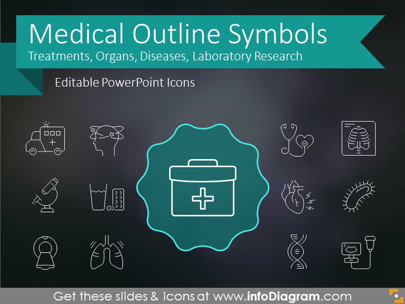 Medical Signs and Outline Health Symbols for presentations (PPT icons)