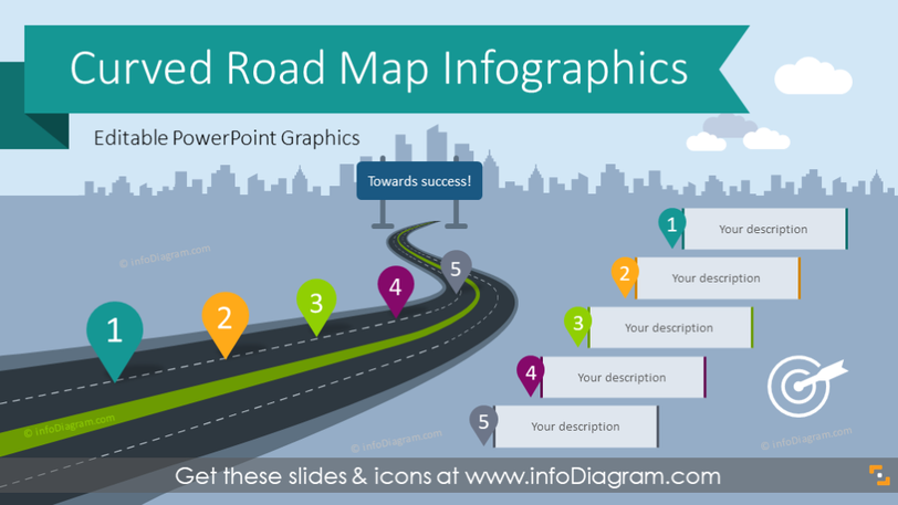 Curved Road Map Presentation Infographic (PPT Template)