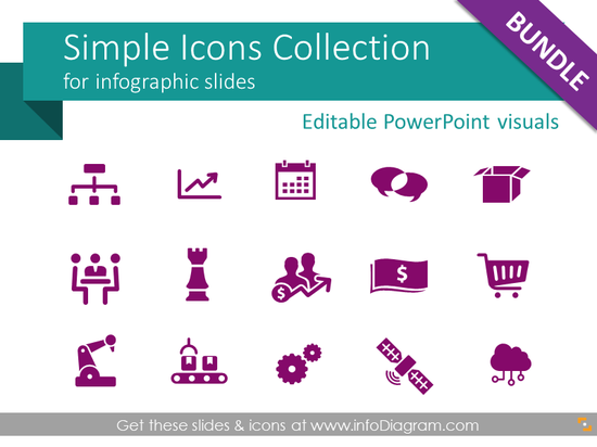 Simple Flat Icons for infographics (PPT vector symbols)
