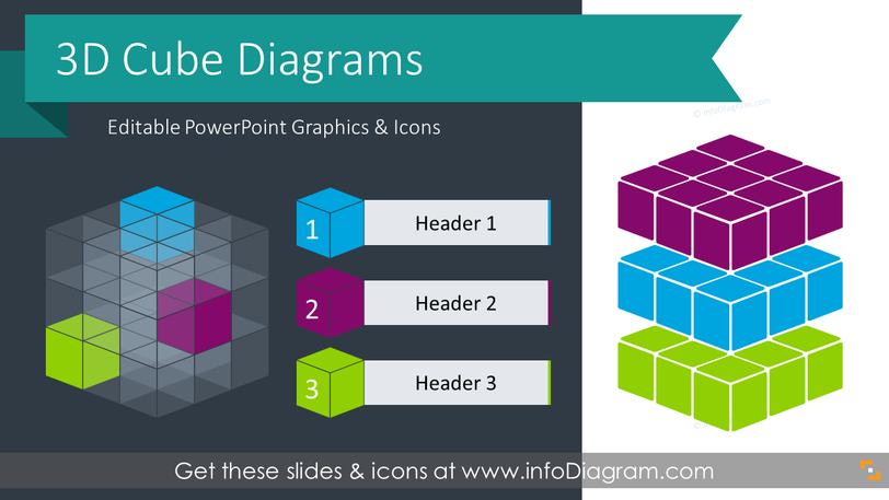 3D Cube Box Diagram (PPT Template)