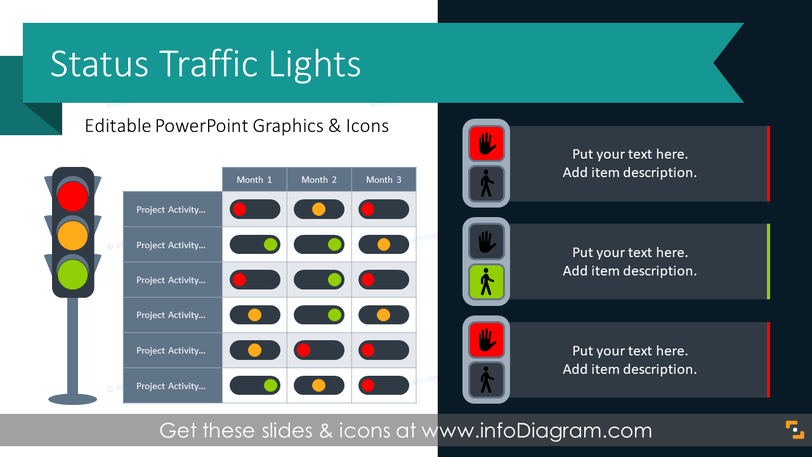 Status Traffic Light RAG Table Graphics (PPT Template)