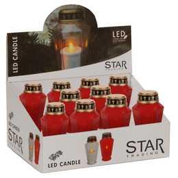 STAR TRADING 8.5 cm x 15.5 cm Candela funeraria a LED (Rosso)