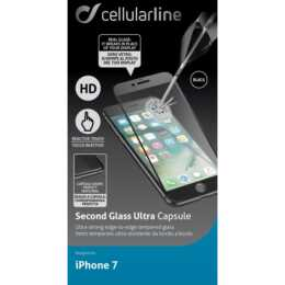 CELLULAR LINE Verre de protection d'écran Second Glass Ultra Capsule iPhone 7, 8 (Clair)