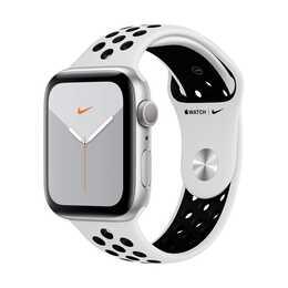 APPLE Watch Nike Series 5 GPS Silber/Pure Platinum/Schwarz (44 mm, Aluminium, Silikon)
