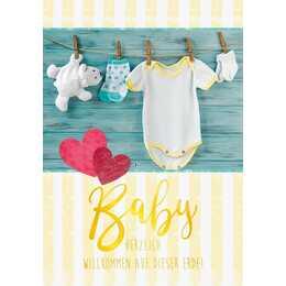 ABC Glückwunschkarte (Geburt, A4, Mehrfarbig)