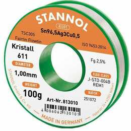 STANNOL Stagno per saldare cristallo 611 TSC (1 mm, 100 g)