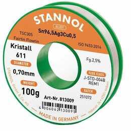 STANNOL Stagno per saldare cristallo 611 TSC (0.7 mm, 100 g)