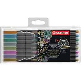 STABILO Pen 68 Metallic Filzstift (Mehrfarbig, 8 Stück)
