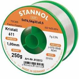 STANNOL Stagno per saldare Kristall 611 TSC (1 mm, 250 g)
