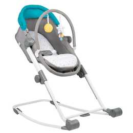 BADABULLE Compact Rest & Go 4 in 1 Babywippe (Grau, Türkis, Weiss)