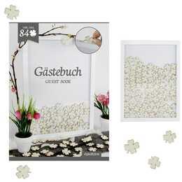 MICHEL-TOYS Gästebuch im Rahmen mit 84 Kleeblätter (Weiss)