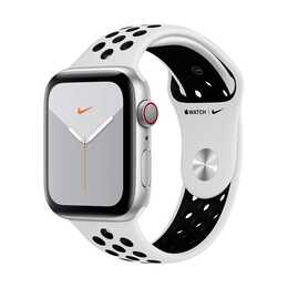 APPLE Watch Nike Series 5 GPS + LTE Silber/Pure Platinum/Schwarz (44 mm, Aluminium, Silikon)