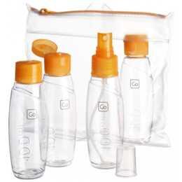 GO TRAVEL Cabin Bottles Set  (100 ml, Transparente, Arancione)