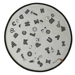OYOY Tapis Alphabet (120 cm x 120 mm, Noir, Gris)
