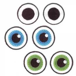 GLOREX Aufbügelbild Augen, 3 Paar