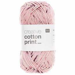 RICO DESIGN Wolle Creative Cotton Print Aran (Lila, Rosa, 50 g)