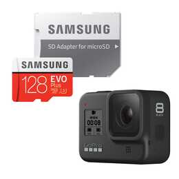 GOPRO Hero 8 + Samsung EVO+ MicroSDXC 128GB (12 MP, Schwarz)