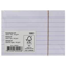 MARCHON OFFICE 180g Karteikarten (A7, Weiss, Liniert, 100 Stück)