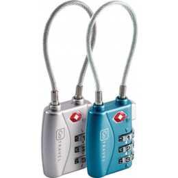 GO TRAVEL Combi Cable TSA-Lock Gepäckschloss (Blau, Silber)