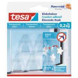Crochet adhésif TESA 0,2 kg pour surfaces transparentes