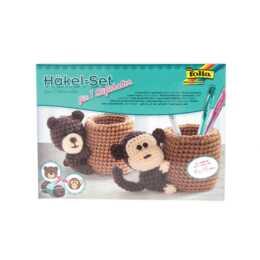 FOLIA ensemble crochet porte-stylo porte-stylo singe/ours