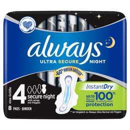 ALWAYS Ultra Secure Night Serviettes périodique (8 pièce, Large)
