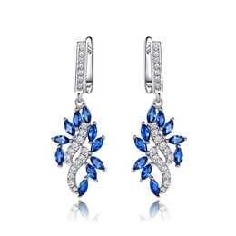 EG 925 Silber Ohrringe mit künstlichem Saphir