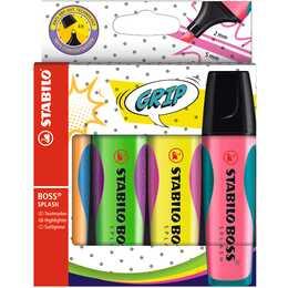 STABILO Highlighter Boss Splash (Grün, Orange, Pink, Gelb, 4 Stück)