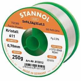 STANNOL Stagno per saldare cristallo 611 TSC (0.7 mm, 250 g)