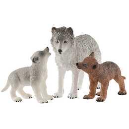 SCHLEICH Wild Life Wolfsmutter mit Welpen