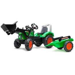 FALK Tretfahrzeug Supercharger Traktor mit Schaufel und Anhänger (Grün)