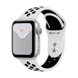 APPLE Watch Nike Series 5 GPS Silber/Pure Platinum/Schwarz (40 mm, Aluminium, Silikon)