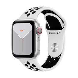 APPLE Watch Nike Series 5 GPS + LTE Silber/Pure Platinum/Schwarz (40 mm, Aluminium, Silikon)