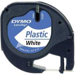 DYMO LetraTag Ruban d'écriture (12 mm x 4 m, Noir / Blanc)