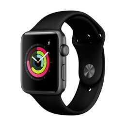 APPLE Watch Series 3 GPS, 42mm boîtier en aluminium, gris espace, avec bracelet sport en silicone, noir