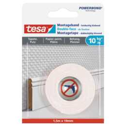 Ruban de montage TESA 1,5 m x 19 mm pour papier peint + plâtre