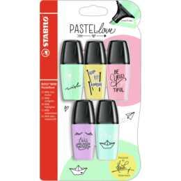 STABILO Textmarker Pastell Mini (Mehrfarbig, 5 Stück)