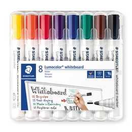 STAEDTLER Marqueur pour tableaux blancs Lumocolor  (Rouge, Bleu, Vert, Noir, Jaune, Orange, Violet, Brun, 8 pièce)