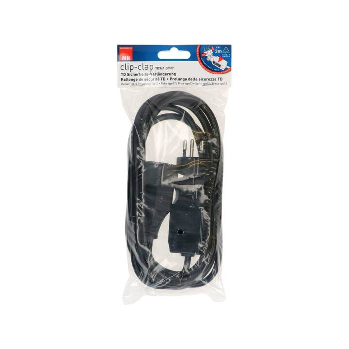 MAX HAURI Rallonge électrique (T12 / T13, 3 m, Noir)