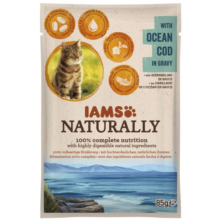 IAMS Naturally (Adulto, 85 ml, Cod)