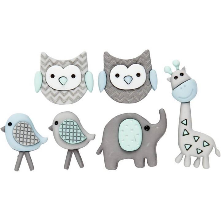CREATIV COMPANY Figure Buttons Jungle, 6 pièces