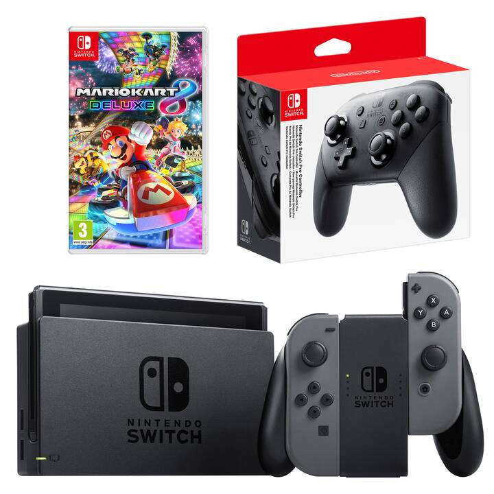 NINTENDO Switch New Grey + Mario Kart 8 Deluxe + Pro Controller Grey 32 GB (Tedesco)