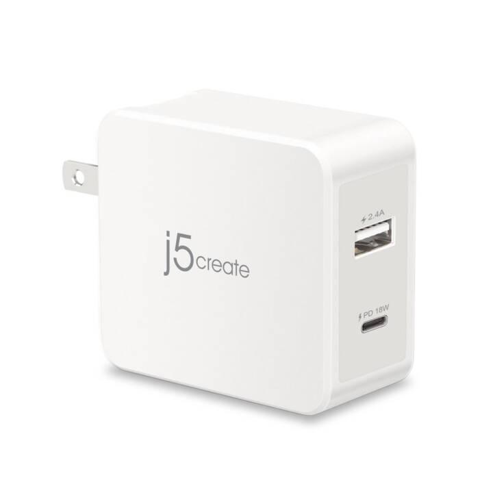 J5 CREATE Wandladegerät (2.4 A, 30 W, USB-A, USB-C)