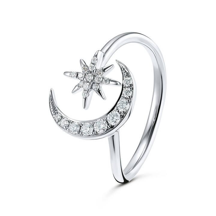 GOLD SPIRIT Anello dei monili (54, 0.170, Oro bianco, Diamante)